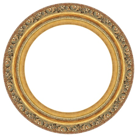 ovals: Oval gold picture frame with a decorative pattern Stock Photo