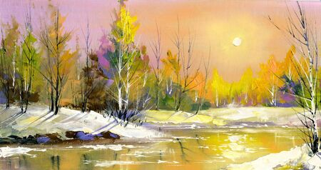 painting nature: The wood river on a decline in the spring