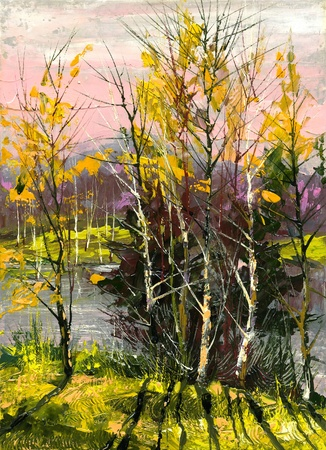 painting nature: Trees and bushes on the bank of the river
