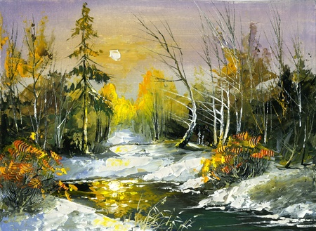painting nature: The wood river in the winter