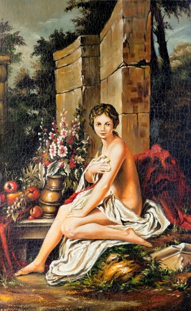 Portrait of the young girl drawn by oil on a canvas in ancient style