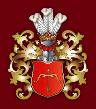 escudo de armas: Los brazos con una placa y una corona Foto de archivo