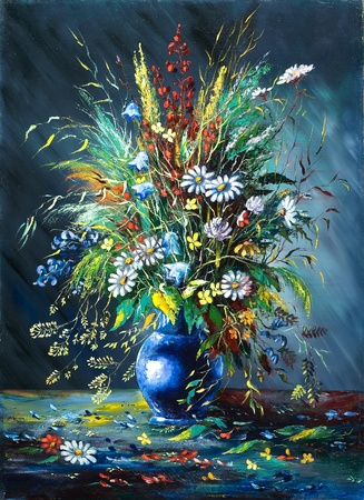 Bouquet of wild flowers in a vase Stock Photo - 8874743