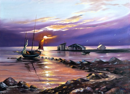 violeta: Barco contra el sol próximo