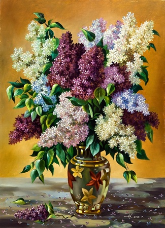 oil on canvas: Lilac bouquet in a vase