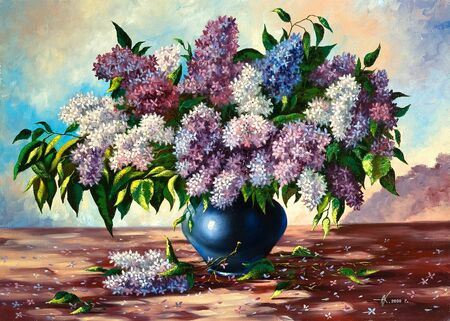 impressionism: Lilac bouquet in a vase