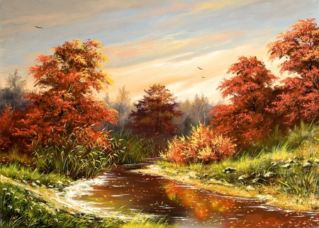 paintings: Autumn landscape with the river