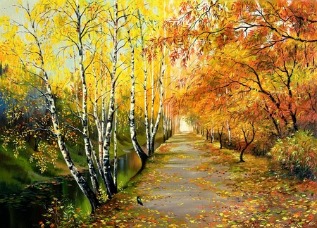 street painting: Autumn road along the channel