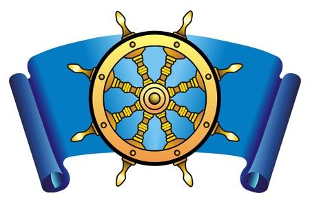 Sea steering wheel on a dark blue background photo