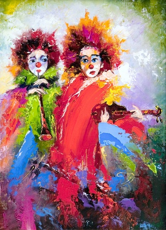 circus clown: Two clowns with a violin and a pipe