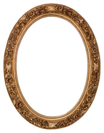 spiegels: Ovale gouden picture frame met een decoratief patroon