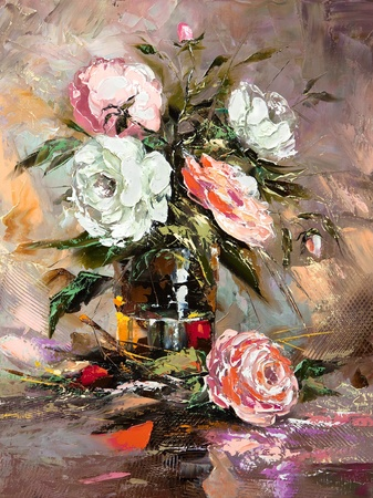 digital paint: Bunch of flowers in a vase
