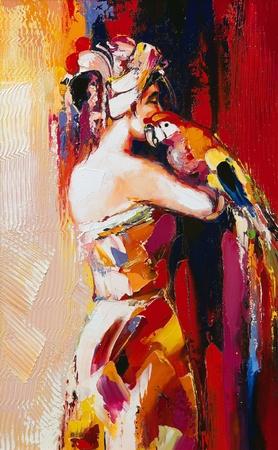 Portrait of the woman with a parrot Фото со стока