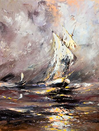 impressionism: Sailing vessel in a stormy sea Stock Photo