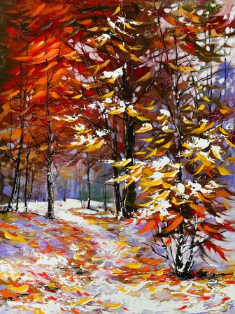 fine art painting: Road to autumn wood