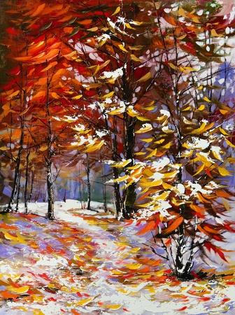 fine art: Road to autumn wood