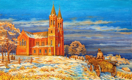 oil painting: Rural winter landscape