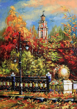 oil painting: Ancient Vitebsk in the autumn Stock Photo