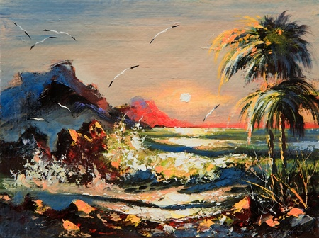 Sea landscape with palm trees and seagulls photo