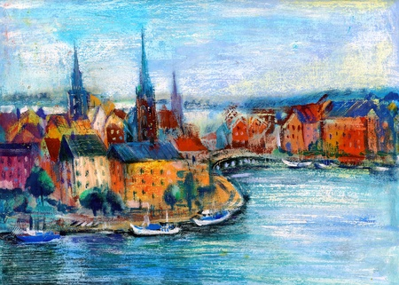 City landscape with the river and the ships