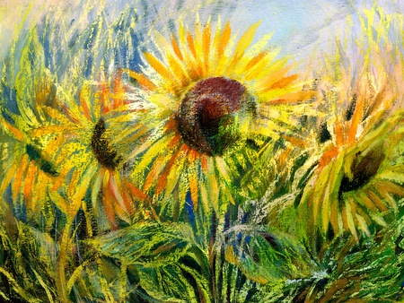 The sunflowers drawn by gouache on a paper Stock Photo