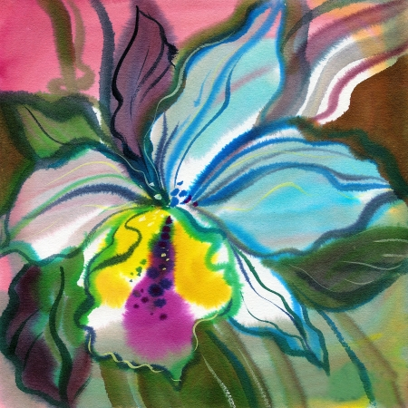 The abstract flowers drawn on a paper