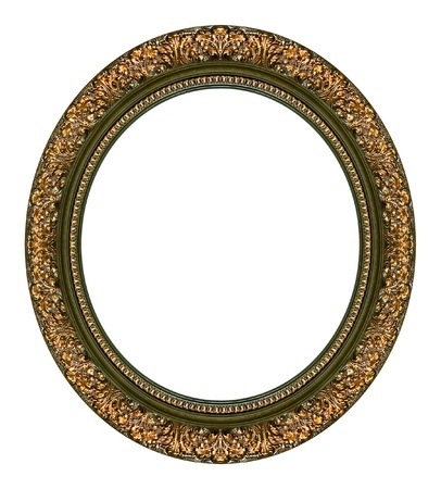 Oval gold picture frame with a decorative pattern Stock Photo - 9320108