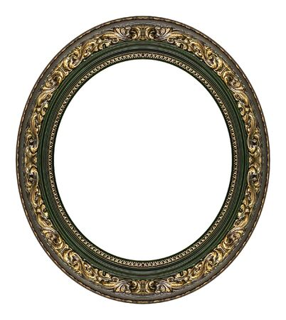 oval shape: Oval gold picture frame with a decorative pattern Stock Photo