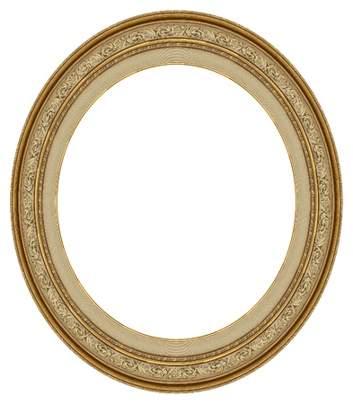 antique frame: Oval gold picture frame with a decorative pattern Stock Photo