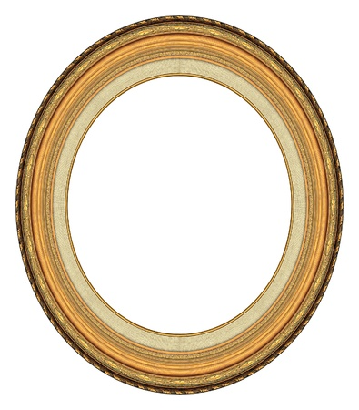 Oval gold picture frame with a decorative pattern Фото со стока