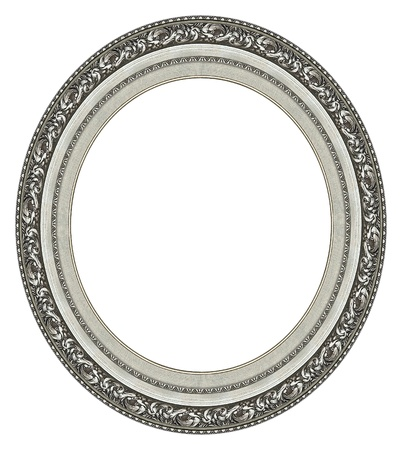 Oval silver picture frame with a decorative pattern photo