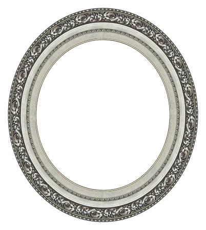 spiegels: Ovale zilveren picture frame met een decoratief patroon Stockfoto