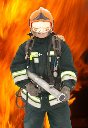 The fireman in regimentals against fire  photo