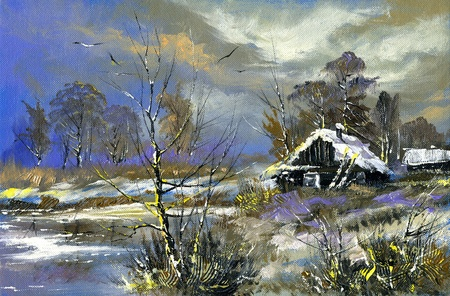 The rural house on the bank of lake in the winter photo