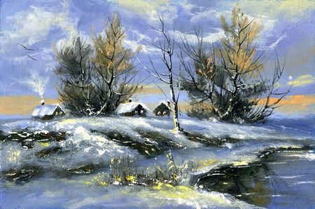 The rural house on the bank of lake in the winter Фото со стока
