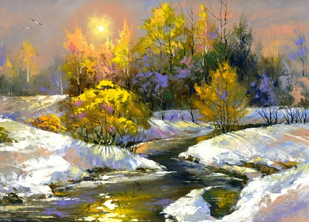 Winter landscape with the wood river photo