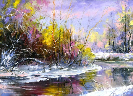 Winter landscape with the wood river Stock Photo