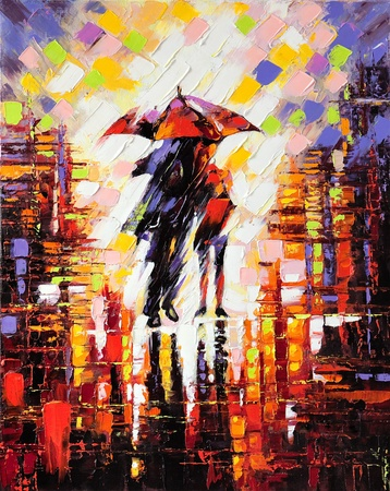 painting drawings: Two enamoured under an umbrella Stock Photo