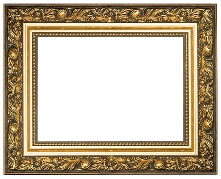 picture frame on wall: Picture gold frame with a decorative pattern