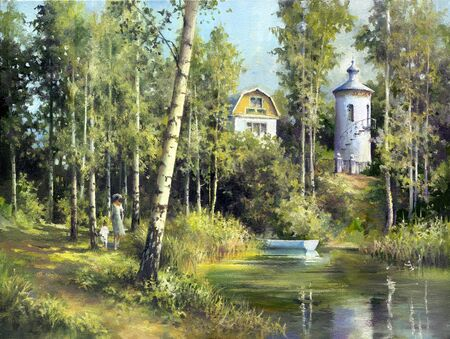 lake house: Rural landscape with lake, a tower and the house