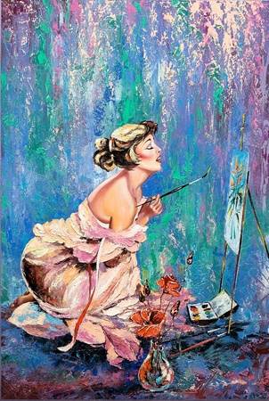 oil paintings: The beautiful girl drawing a picture