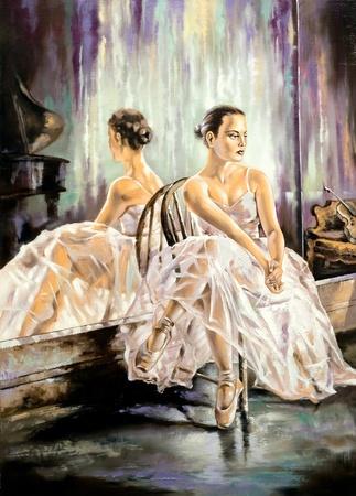 The ballerina sitting near a mirror Фото со стока
