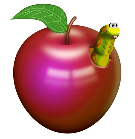 Worm in a red apple photo