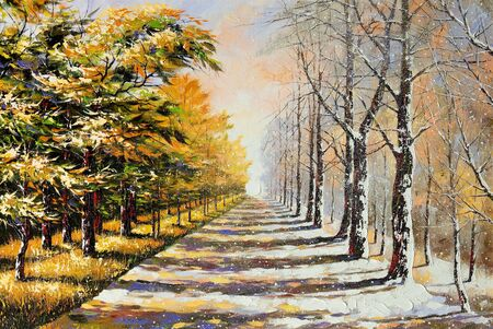 painting nature: Allegory on theme winter-autumn
