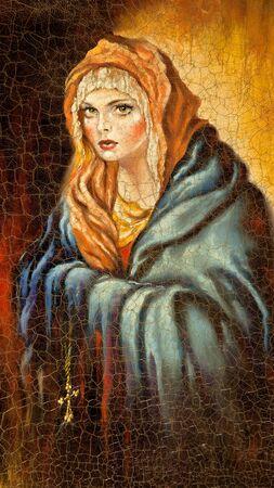 sanctity: Madonna disegnata da me da olio su tela Archivio Fotografico