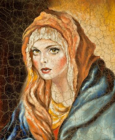 sanctity: Madonna disegnata da me da olio su tela (frammento)