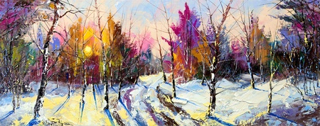 street painting: Sunset in winter wood