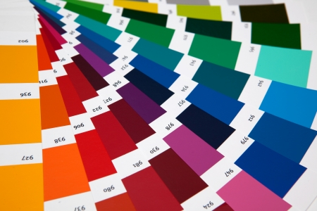 descriptive colour: Set of samples of various colours Stock Photo