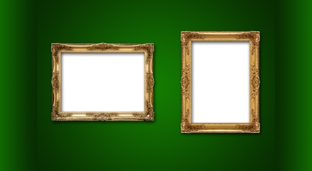 Empty picture frames in a green room photo