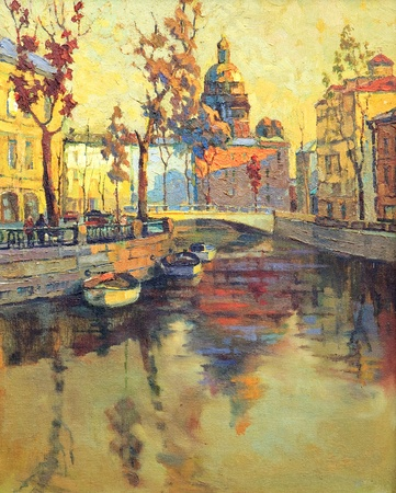 abstract paintings: Kind on old streets of St.-Petersburg
